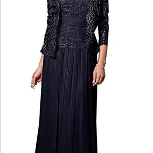 Jaeden. 3/4 Sleeve Floor Length Navy Dress